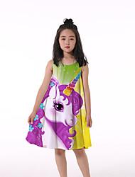 cheap -Kids Little Girls' Dress Unicorn Animal Print Rainbow Knee-length Sleeveless Flower Active Dresses Regular Fit 5-12 Years