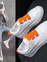 cheap -Women's Trainers Athletic Shoes Flat Heel Round Toe PU Buckle Solid Colored Orange Green Gray