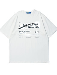 cheap -Men's T shirt Hot Stamping Graphic Prints Letter Print Short Sleeve Casual Tops 100% Cotton Basic Casual Fashion White Black