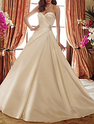 cheap -A-Line Wedding Dresses Strapless Court Train Satin Sleeveless Formal Simple with Ruched Crystal Brooch 2021