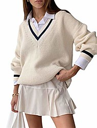 cheap -women's v neck sweater vest school uniform cable knit oversized batwing sleeve cricket sweater pulover tops white