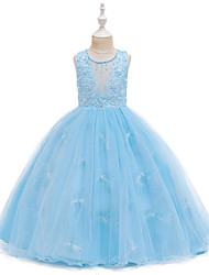 cheap -Ball Gown Floor Length Wedding / Event / Party Flower Girl Dresses - Tulle / Polyester Sleeveless Jewel Neck with Faux Pearl / Tier / Embroidery