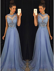 cheap -A-Line Empire Prom Formal Evening Dress Jewel Neck Sleeveless Sweep / Brush Train Chiffon with Beading Appliques 2021