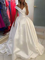 cheap -Princess Ball Gown Wedding Dresses V Neck Court Train Satin Sleeveless Formal Simple with Pleats 2021