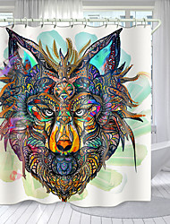 cheap -Simple Wolf Head Totem Digital Printing Shower Curtain Shower Curtains  Hooks Modern Polyester New Design