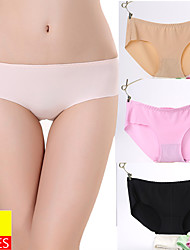cheap -Women's 3 Pieces Basic Brief - Normal Mid Waist Multi color One-Size