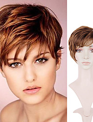 cheap -Curly Short Brown Wig Female Chemical Fiber Wig Headgear European And American Wig Brown Short Hair Micro-volume Synthetic Wigs Wig