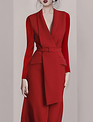 cheap -Sheath / Column Minimalist Elegant Wedding Guest Formal Evening Dress Shirt Collar Long Sleeve Ankle Length Spandex with Sash / Ribbon 2021