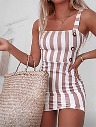 cheap -Women's Strap Dress Short Mini Dress Black Blue Yellow Blushing Pink Sleeveless Striped Spring Summer Vintage 2021 S M L XL XXL