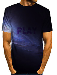 cheap -Men's T shirt Other Prints Galaxy 3D Print Short Sleeve Daily Tops Basic Casual Black