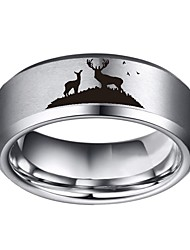 cheap -8mm width silver landscape scene tungsten ring flat polished finish-free sizes 4 to 17 (12)