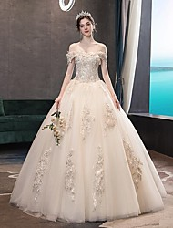 cheap -Princess Ball Gown Wedding Dresses Off Shoulder Floor Length Lace Tulle Sequined Short Sleeve Formal Romantic Luxurious Sparkle & Shine with Pleats Appliques 2021