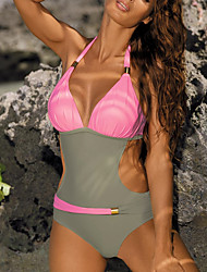 cheap -Women's One Piece Beach Wear Swimsuit Cut Out Color Block Blue Yellow Blushing Pink Green Swimwear Halter Bathing Suits Sexy