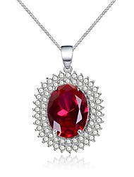 cheap -Women's Red Synthetic Ruby Pendant Necklace Fancy Vintage Classic European Copper Red 45 cm Necklace Jewelry 1pc For Party Evening Formal
