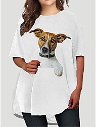 cheap -Women's Plus Size Dress T Shirt Dress Tee Dress Short Mini Dress Short Sleeve Graphic Animal Print Basic All Seasons White XL XXL 3XL 4XL 5XL