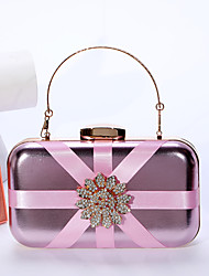 cheap -Women's Bags PU Leather Polyester Evening Bag Crystals Chain Color Block Party Wedding Evening Bag 2021 Handbags Black Blushing Pink Gold Silver