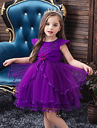 cheap -Princess / Ball Gown Short / Mini Wedding / Party Flower Girl Dresses - Tulle Sleeveless Jewel Neck with Lace / Beading / Appliques