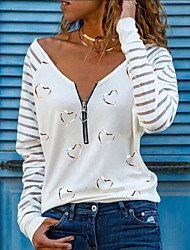 cheap -Women's T shirt Heart Long Sleeve Quarter Zip Print V Neck Tops Sexy Basic Top White Black Blushing Pink