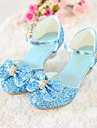 cheap -Girls' Heels Flower Girl Shoes Princess Shoes School Shoes Rubber PU Little Kids(4-7ys) Big Kids(7years +) Daily Party & Evening Walking Shoes Rhinestone Buckle Sequin White Blue Pink Fall Spring