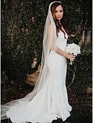 cheap -Mermaid / Trumpet Wedding Dresses Strapless Sweep / Brush Train Stretch Fabric Sleeveless Simple Beach with 2021