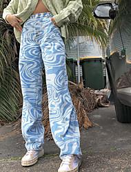 cheap -Women's Stylish Streetwear Comfort Pants Cotton Going out Weekend Pants Lines / Waves Full Length Pocket High Waist Blue Khaki