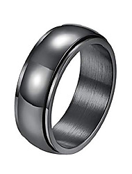cheap -alextina 8mm stainless steel spinner ring dome shape high polished finish anxiety ring calm stress relieving, black size 6