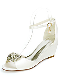 cheap -Women's Wedding Shoes Wedge Heel Open Toe Wedding Sandals Satin Rhinestone Imitation Pearl Solid Colored White Black Purple