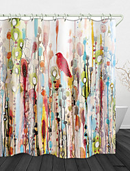 cheap -Watercolor flowers and Birds Print Waterproof Fabric Shower Curtain for Bathroom Home Decor Covered Bathtub Curtains Liner Includes with Hooks