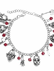 cheap -jason mask charm bracelet horror scary movie bracelet ghost halloween jewelry gift silver