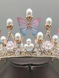 cheap -Crown Headdress Elegant Butterfly Pearl Crown Accessories Wedding Dinner Dress Hair Accessories Children's Performance Performance