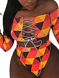 cheap -Women's Bikini 2 Piece Swimsuit Open Back Slim Color Block Tie Dye pineapple lattice Lips Yellow Swimwear Padded Bathing Suits New Fashion Sexy / Padded Bras