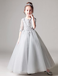 cheap -Princess / Ball Gown Floor Length Party / Birthday Flower Girl Dresses - Tulle Half Sleeve Jewel Neck with Beading / Appliques / Solid