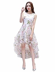 cheap -rich-po women's organza floral print wedding party ball prom gown cocktail dress sexy (pink, s)