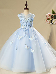 cheap -Princess / Ball Gown Floor Length Wedding / Party Flower Girl Dresses - Tulle Sleeveless Jewel Neck with Appliques