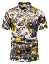 cheap -Men's Shirt Other Prints Abstract Short Sleeve Daily Tops 100% Cotton Coffee