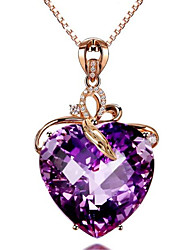 cheap -Women's Amethyst Pendant Necklace Charm Necklace Classic Heart Precious Fashion Zircon Copper Gold Plated Purple 45 cm Necklace Jewelry 1pc For Christmas Wedding Party Evening Street Gift