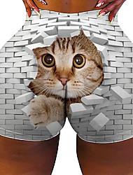 cheap -Women's Colorful Fashion Comfort Holiday Beach Leggings Pants Cat 3D Graphic Prints Short Sporty Elastic Waist Print White