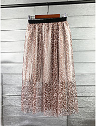 cheap -Women's Daily Elegant Skirts Graphic Leopard Print Khaki Dark Gray