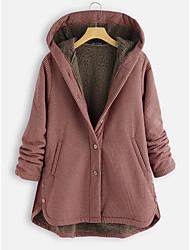 cheap -Women's Plaid Active Fall & Winter Coat Regular Daily Long Sleeve Polyster Coat Tops Black