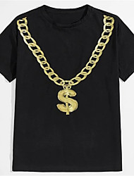 cheap -Men's Unisex T shirt Hot Stamping Graphic Prints Necklace Plus Size Print Short Sleeve Daily Tops 100% Cotton Basic Fashion Classic Black