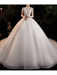 cheap -Princess Ball Gown Wedding Dresses V Neck Chapel Train Lace Tulle Short Sleeve Formal Romantic Sparkle & Shine with Beading Appliques 2021