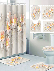 cheap -Beautiful Peach Blossom Pattern Printing Bathroom Shower Curtain Leisure Toilet Four-piece Design