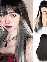 cheap -Synthetic Wig Natural Straight Neat Bang Wig 24 inch A10 A12 A13 A14 A1 Synthetic Hair Women's Cosplay Party Fashion Black Yellow