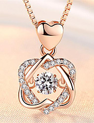 cheap -Pendant Necklace Charm Necklace Women's Geometrical Zircon Gold Plated Heart Fashion Lovely Wedding Rose Gold Silver 45 cm Necklace Jewelry 1pc for Christmas Wedding Gift Daily Work Geometric