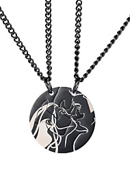 cheap -Couple's Pendant Necklace Classic Elk Sweet Titanium Steel Black Silver 60 cm Necklace Jewelry 1pc For Anniversary Gift Birthday Party Festival