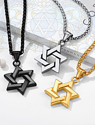 cheap -Men's Women's Pendant Necklace Necklace Classic Star of David Fashion Classic Titanium Steel Black Gold Silver 55+5 cm Necklace Jewelry 1pc For Christmas Gift Formal Birthday Party Festival
