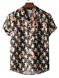 cheap -Men's Shirt Other Prints Star Print Short Sleeve Casual Tops Beach Tropical Army Green