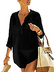 cheap -womens summer sexy swimsuit bikini cover up sun protective beach dress l black
