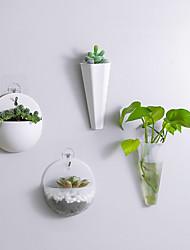cheap -1Pcs Plastic Vase Hydroponic Wall Mounted Plant Hanging Flower Vase Green Dill Flowerpot Basket Planter Home Garden Decoration