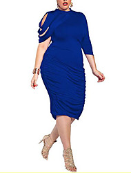 cheap -Women's Bodycon Knee Length Dress Black Purple Royal Blue Brown Half Sleeve Blue Solid Colored Summer Crew Neck Asymmetrical L XL XXL 3XL 4XL 5XL